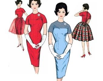 "1962 Vintage Sheath Dress, Jewel Neckline, Short Kimono Sleeve, Yoke and Sleeve in 1, Gathered OverSkirt, Simplicity 4185, Bust 34"""