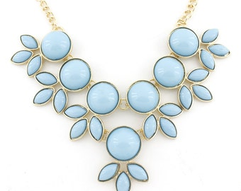 Pretty Gold-tone Blue Stone Flower Statement Necklace,B7