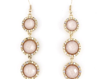 Gorgeous Gold-tone Pink Triple Faceted Stones Dangle Drop Earrings,B6