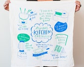 "Regrettable Kitchen Purchases Dish Towel, 30""x30"", cotton screen printed dish towel, tea towel, kitchen towel, funny towel"