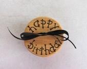 Wooden Happy Birthday gift box wood burning rustic