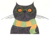 Cat Gift Cards - Funny Black Cat with Scarf and Glasses