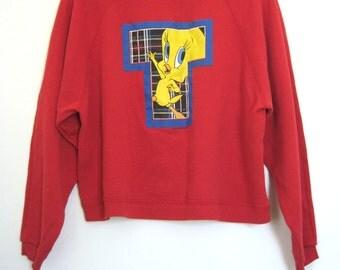 90's Tweety Bird Sweatshirt Boxy Red Looney Tunes Oversized Vaporwave Grunge Club Kid Pastel Goth // L