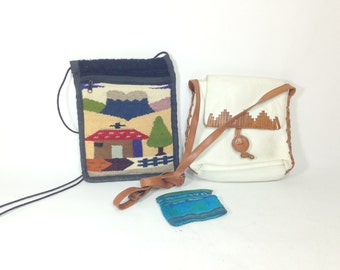 Leather Tribal Bag Lot - Woven Kilim Purse - Leather Satchel - Coin Purse - Hippie Bag - Instant Collection