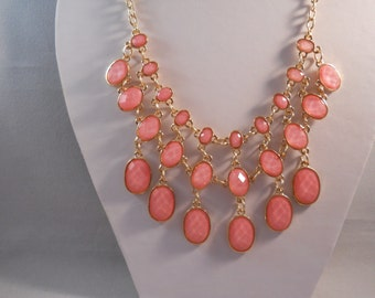 2 Row Bib Necklace with Gold Tone and Pink Drop Beads on a Gold Tone Chain