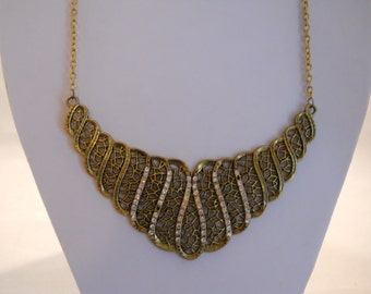 Bib Necklace with Gold Tone and Rhinestone Pendant on a Gold Tone Chain