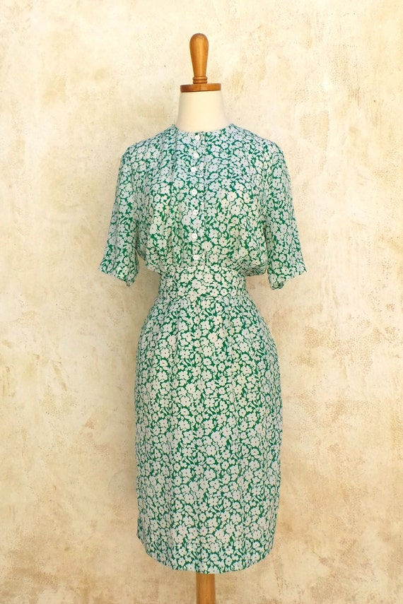Vintage 40s 50s - Mid Century - Green & White Floral Dress w/ Pockets - Womens Size M
