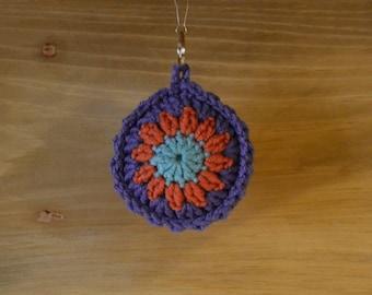 Crochet Keychain Mandala Aqua Coral Purple Stocking Stuffer Handmade Littlestsister