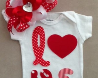 Valentine's Day outfit for baby girls - LOVE onesie with matching headband w/ boutique bow