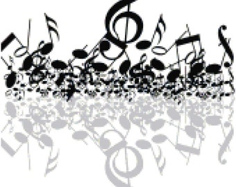Music Notes Treble Clef Black and Gray Counted Cross Stitch Pattern Chart PDF Download by Stitching Addiction