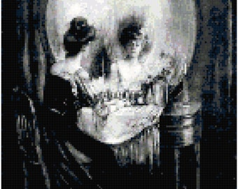 Charles Allan Gilbert All is Vanity Vanitas Skull Painting Counted Cross Stitch Pattern Chart PDF Download by Stitching Addiction