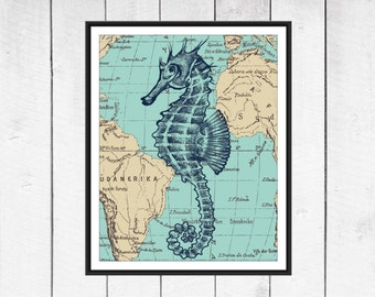 Seahorse Print - Nautical Nursery -  Beach Decor  - Your choice of Size, Colors and Background