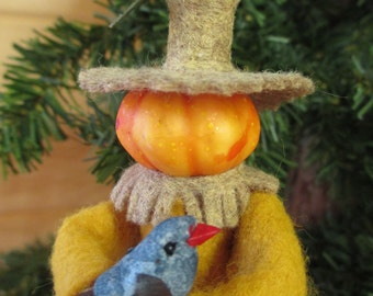 Pumpkin Head Scarecrow Ornament, Clothespin - Halloween