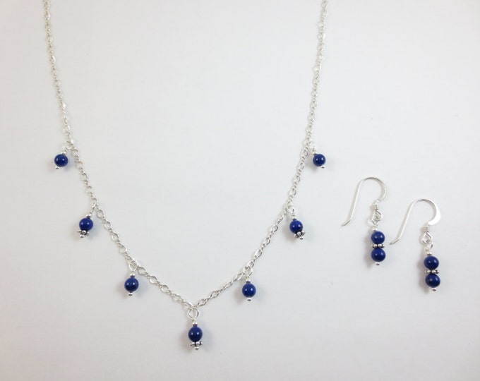 Dainty 4 mm Blue Beaded Lapis Lazuli 7 Drop Necklace & Earrings Jewelry Set on Sterling Silver or 14k Gold Fill - Bead Jewelry