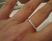 Thin Band bling multistone crystal ring Silver silver Stacking Ring silver stack ring silver ring Engagement Rings