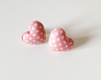 PINK HEART Stud Earrings Polka dots Fabric Covered Button Ear Posts 01/16