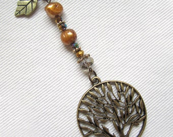 PENDANT- handcrafted tree of life beaded pendant and chain
