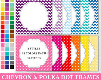 BUY 1 GET 1 FREE - 96 Polka Dot & Chevron Digital Rainbow Frames Labels Clip Art . Commercial and Personal use,