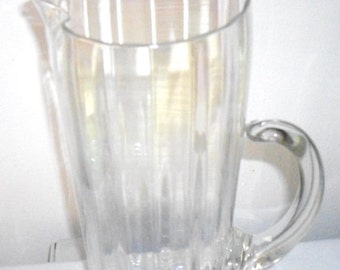 Vintage Glass Pitcher, Water Pitcher, Beer Pitcher, Art Glass Pitcher, tall Martini Pitcher, Clear tall glass pitcher