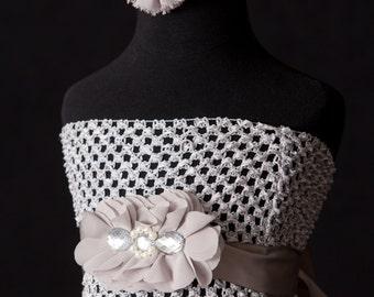 Baby Girl Grey Halter Top Tutu Dress with Chiffon Sash and Headband