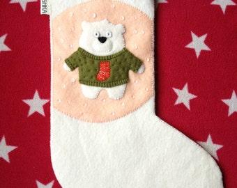 Wool Felt Christmas Stocking Polar Bear ugly sweater jumper handmade festive presents