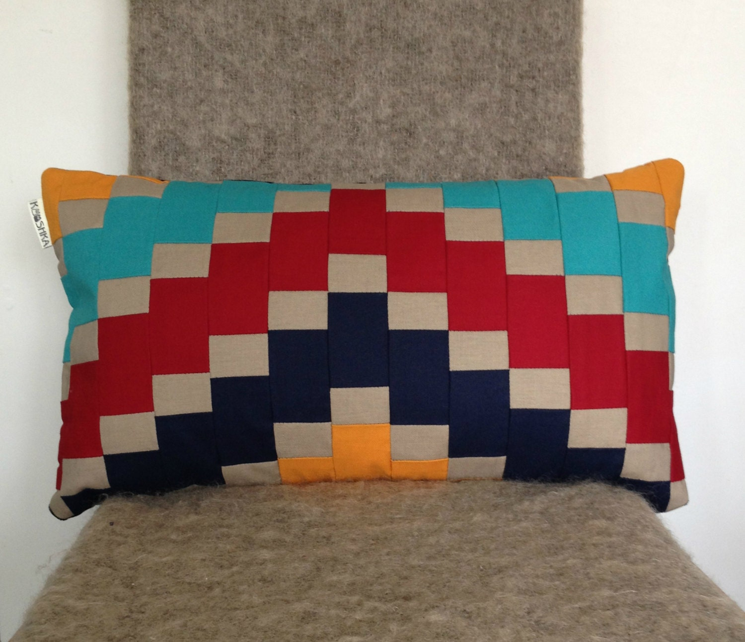 Modern Pillow Covers Etsy : Mosaic Cushion Cover Patchwork modern by KOOSHKA on Etsy