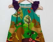 Girls Cute Critter Squirrel Forest Friends Dress with Ruffle Sleeves Size 2T