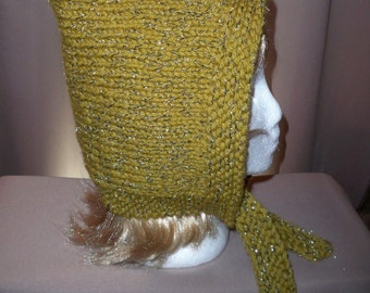 Pixie Hat Hood Glittery Sparkely Bonnet Womens Pointed Top Moss Green