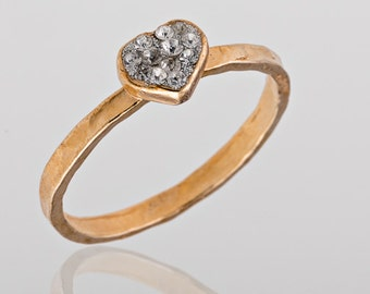 Gold ring. Gem ring. cz ring, heart ring, romantic ring, sparkly ring, stackable ring, stacking ring, gift for her