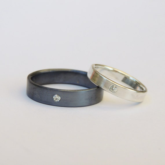 Hers Wedding Band Set, Blackened Oxidized Silver Ring Set, Flush set ...