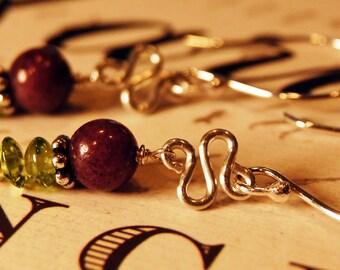 Sterling Silver Handmade Purple Grape Candy Jade and Peridot Dangle Earrings