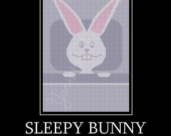 Sleepy Bunny -  Afghan Crochet Graph Pattern Chart - Instant Download