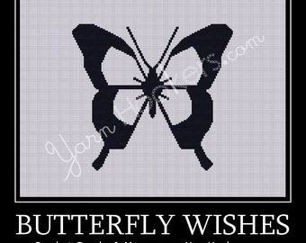 Butterfly Wishes - Silhouette - Afghan Crochet Graph Pattern Chart - Instant Download