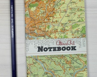 NOTEBOOK SMALL, Germany, Hamburg, 4x5,7inch, 40 p., ruled, travel journal, diary, notebook, atlas, map, vintage