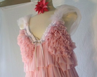 BLOW OUT Sale!  Upcycled slip dress pink ladies party dress OOAK