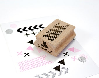 Rubber Stamp with fishnet pattern