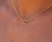 Little Heart necklace. Minimalist necklace. Gold plated heart necklace. Chain Necklace. Layered necklace