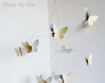 Grey Yellow Butterfly Mobiles, Kinetic mobile, Hanging mobile, Room Decor, Nursery Decoration