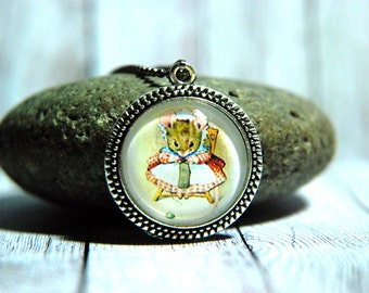"""1"""" Round Glass Pendant Necklace or Key Chain - Beatrix Potter,  Knitting Mouse"""