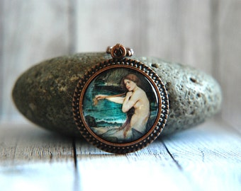 "1"" Round Glass Pendant Necklace or Key Chain -  John William Waterhouse Painting - Mermaid"