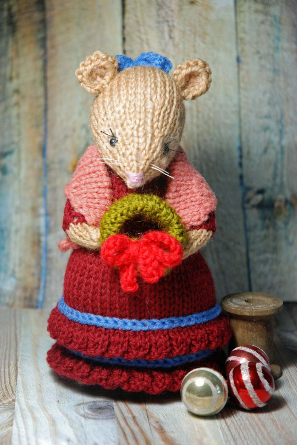 Knitting Patterns For Christmas Mice : Knitted Christmas Mouse Lady Holiday Mouse Decoration