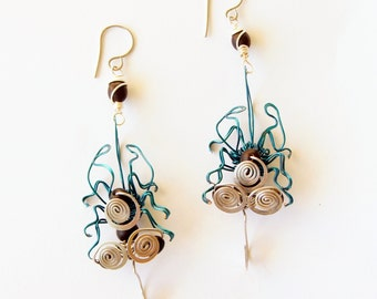 fly earrings · blue earrings · wire sculpture · bug earrings · insect jewelry · wire wrap · dangle earrings