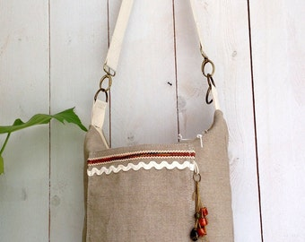 Canvas shoulder bag, boho bag. tote bag