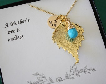Mother Necklace Gold Leaf, Mom Gift, Real Leaf Necklace, Thank You Card, Gold Birch Leaf, Mom Charm, Monogram Necklace