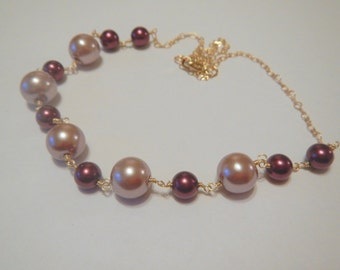 Pearl Necklace, Smokey Pink and Maroon Pearl Necklace, Gold Necklace