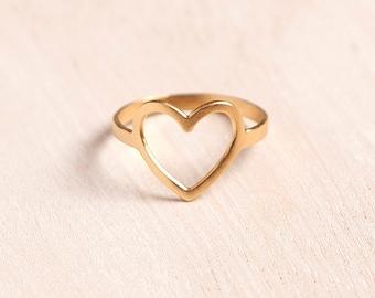 Open Heart Ring, Heart Ring, Heart Shaped Rings, Gold Heart Ring, Love