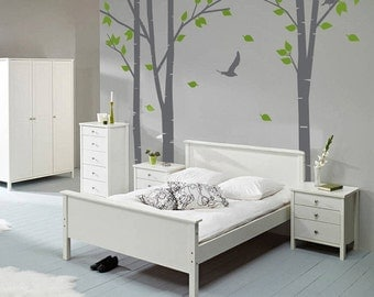 "Silver Birch Trees Vinyl Wall Sticker 3 Tree Design Wall Decal | 320cm x 240cm / 10'6"" x 7'10"""