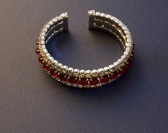 CUFF Faux Ruby and Clear Rhinestone Bracelet 1970s Vintage