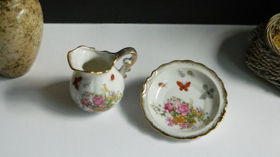 Vintage Royal Crown Mini Creamer & Saucer 1960s Made in Japan/Pitcher + Bowl/Hand Painted/Gift/Mid Century/Gifts/Serving/Kitsch/Cottage Chic