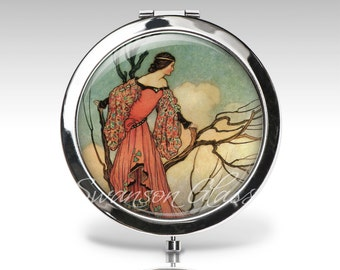 Compact Mirror - Art Deco -  Art Nouveau  - Personalized Gift - Gift for Women - Purse Mirror  C25